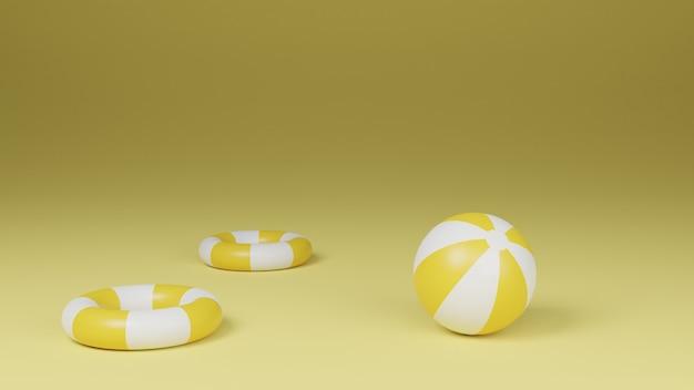 Rendu 3d du ballon de plage gonflable et des bouées de sauvetage