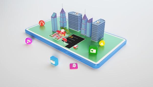 Rendu 3d du bâtiment de concept de ville isométrique avec mobile