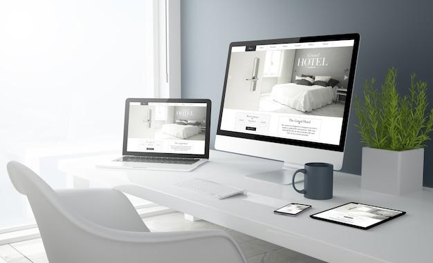 Rendu 3d du bureau avec tous les appareils montrant le site web de l'hôtel