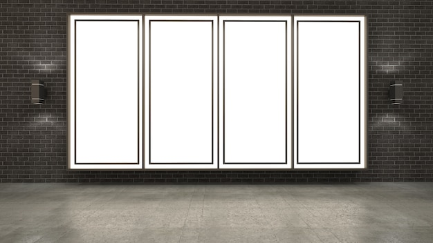 Rendu 3d du cadre d'image vide sur le mur de briques