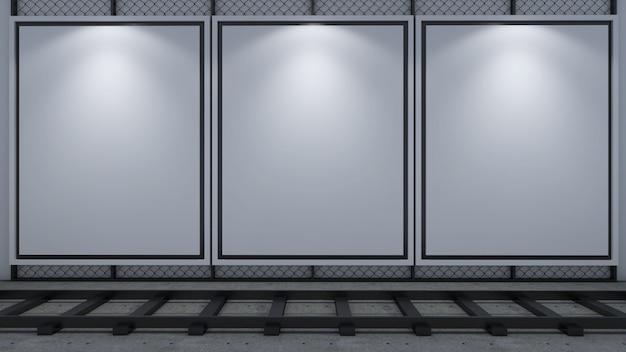 Rendu 3d du cadre d'image vide sur tableau blanc