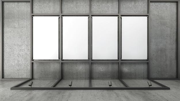 Rendu 3d du cadre d'image vide sur un treillis métallique