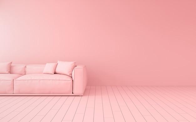 Rendu 3d du canapé rose dans une pièce.