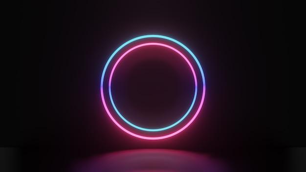 Rendu 3d du cercle de lumière bleu rose et réflexion sur fond sombre, concept abstrait minimal, espace vide, design simple et épuré