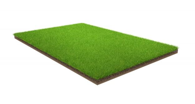 Rendu 3d du champ d'herbe verte isolé sur un fond blanc avec un tracé de détourage. terrain de sport.