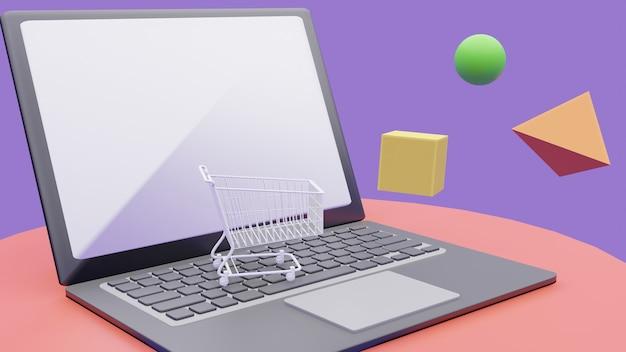 Rendu 3d du concept d'achat en ligne. panier sur ordinateur portable.