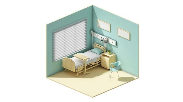 Rendu 3d du concept d'une chambre d'hôpital avec un lit minimaliste