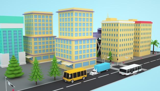 Rendu 3d du concept de construction de ville d'affaires isométrique