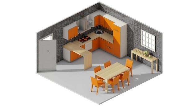 Le rendu 3d du concept de disposition de la table à manger rejoint la cuisine