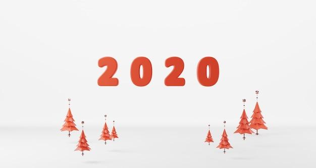 Rendu 3d du concept du nouvel an. lave rouge de 2020 bonne année flottante