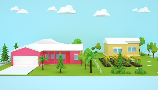 Rendu 3d du concept d'entreprise de bâtiments résidentiels isométriques