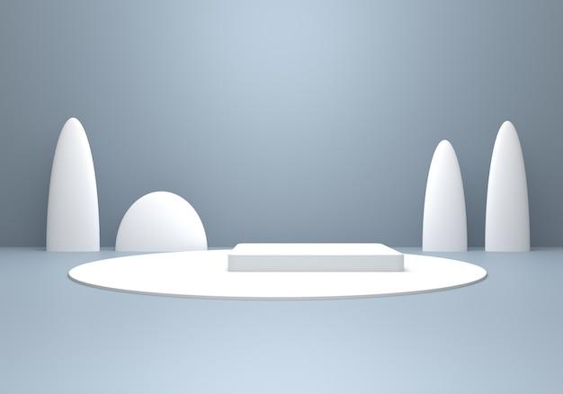 Rendu 3d du concept d'hiver minimal abstrait gris argent vide