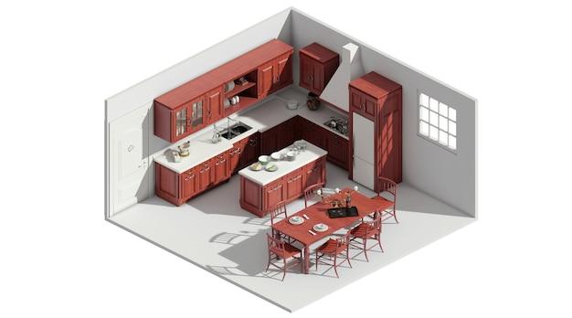 Le rendu 3d du concept de mise en page simple table à manger rejoint la cuisine