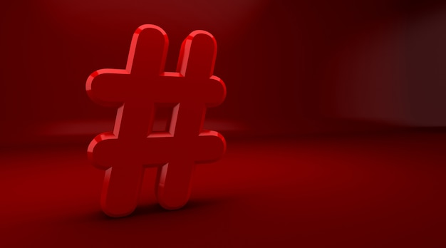 Rendu 3d du concept de notification internet hashtag sur fond rouge. symbole de hachage