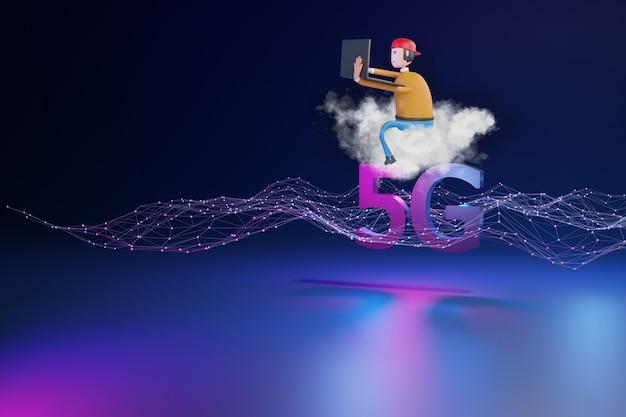 Rendu 3d du concept de réseau 5g
