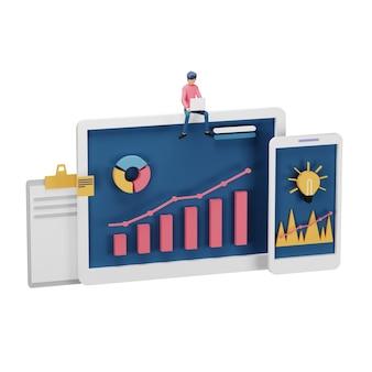 Rendu 3d du concept de stratégie de marketing numérique avec un personnage minuscule, une table, un objet graphique sur écran d'ordinateur. marketing des médias sociaux en ligne moderne pour la page de destination et le modèle de site web mobile