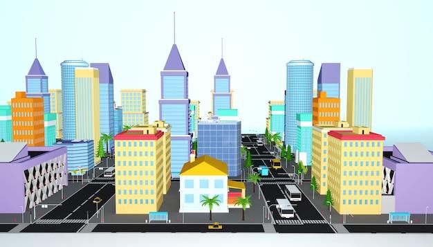 Rendu 3d du concept de tour de ville entreprise isométrique