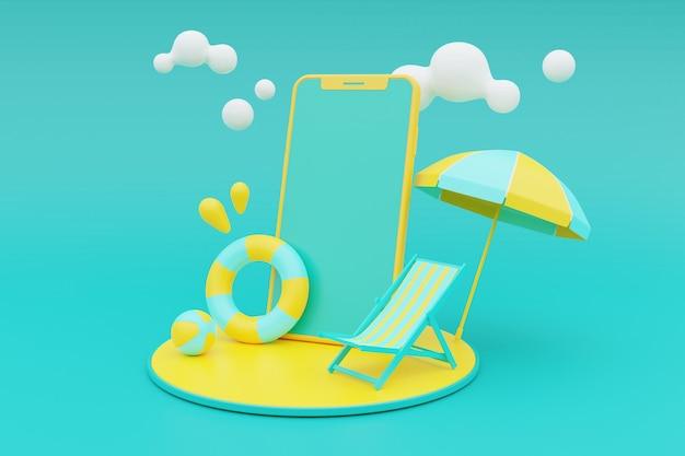 Rendu 3d du concept de vacances d'été avec des éléments de smartphone et d'été. rendu 3d.