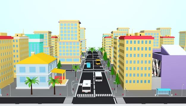 Rendu 3d du concept de ville d'affaires isométrique