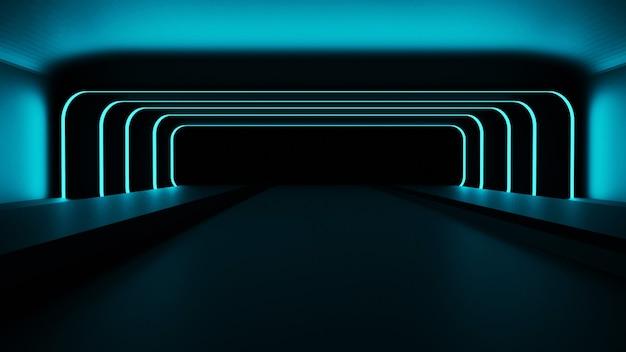 Rendu 3d du couloir avec néons bleus