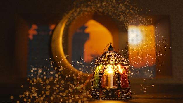 Rendu 3d du croissant de lune avec lanterne illuminée