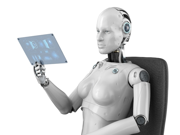 Le rendu 3d du cyborg féminin tient une tablette en verre avec un affichage graphique