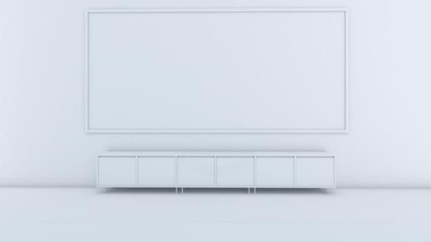Rendu 3d du design d'intérieur de la salle de classe, armoire devant la salle, maquette sur écran blanc