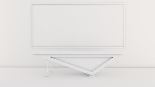 Rendu 3d du design d'intérieur de la salle de classe, bureau en face de la salle, maquette sur écran blanc