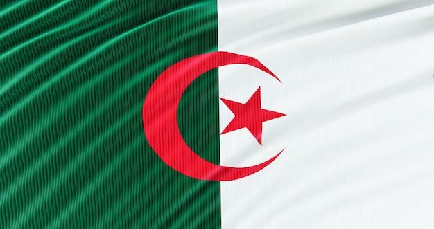 Rendu 3d du drapeau de l'algérie pour le memorial day, l'algérie waving flag, independence day.