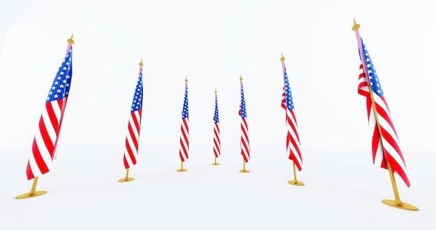 Rendu 3d du drapeau américain pour le memorial day, 4 juillet, jour de l'indépendance.