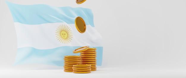 Rendu 3d du drapeau de l'argentine et des pièces d'or. achats en ligne et e-commerce sur le concept d'entreprise web. transaction de paiement en ligne sécurisée avec smartphone.