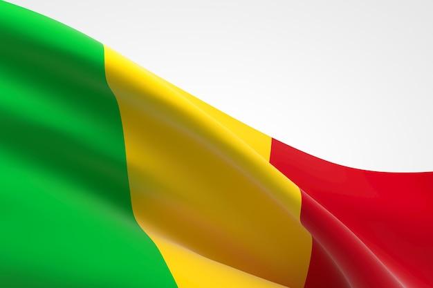 Rendu 3d du drapeau du mali.