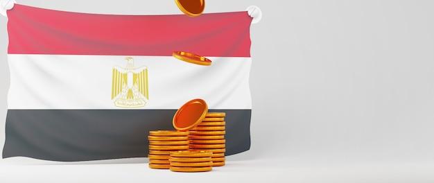 Rendu 3d du drapeau de l'égypte et de la pièce d'or. affaires en ligne et commerce électronique sur le concept de magasinage en ligne. transaction de paiement en ligne sécurisée avec smartphone.