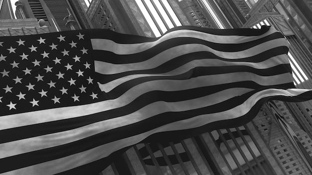 Rendu 3d du drapeau des états-unis devant de grands gratte-ciel. pliage réaliste par drapeau à vent. styliser monochrome.
