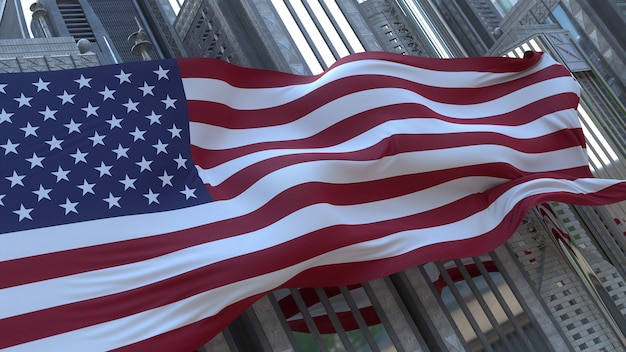 Rendu 3d du drapeau des états-unis devant de grands gratte-ciel. pliage réaliste par drapeau à vent.