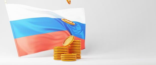 Rendu 3d du drapeau de la russie et des pièces d'or. achats en ligne et e-commerce sur le concept d'entreprise web. transaction de paiement en ligne sécurisée avec smartphone.