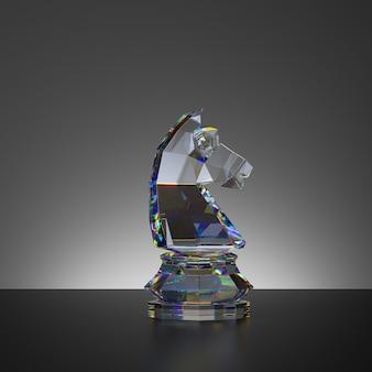 Rendu 3d du jeu d'échecs pièce de chevalier de cristal isolé