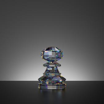 Rendu 3d du jeu d'échecs pièce de pion en cristal isolée