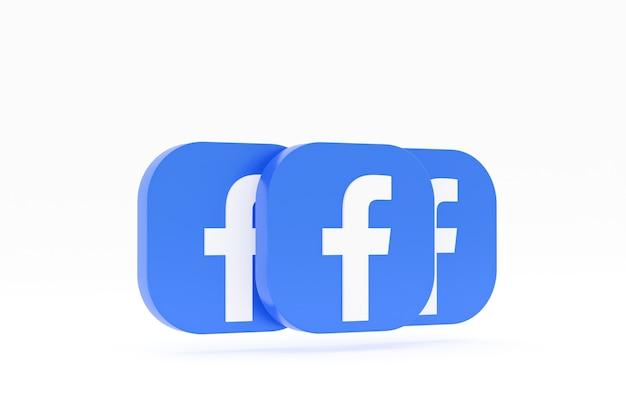 Rendu 3d du logo de l'application facebook sur fond blanc