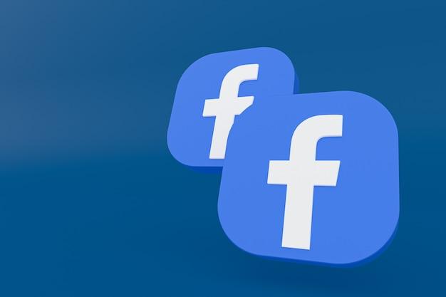 Rendu 3d du logo de l'application facebook sur fond bleu