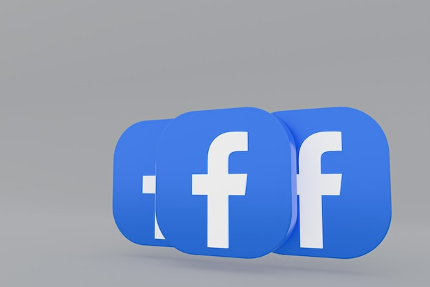Rendu 3d du logo de l'application facebook sur fond gris