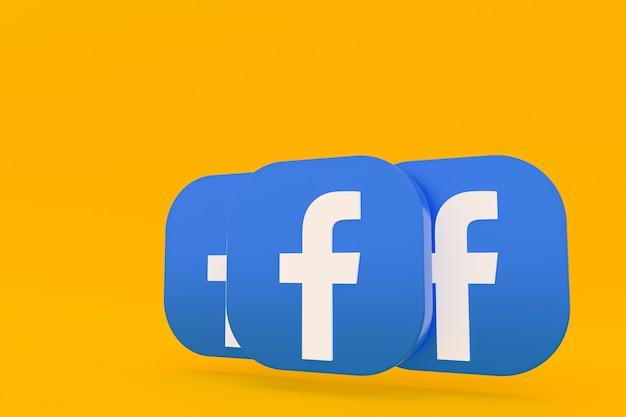 Rendu 3d du logo de l'application facebook sur fond jaune