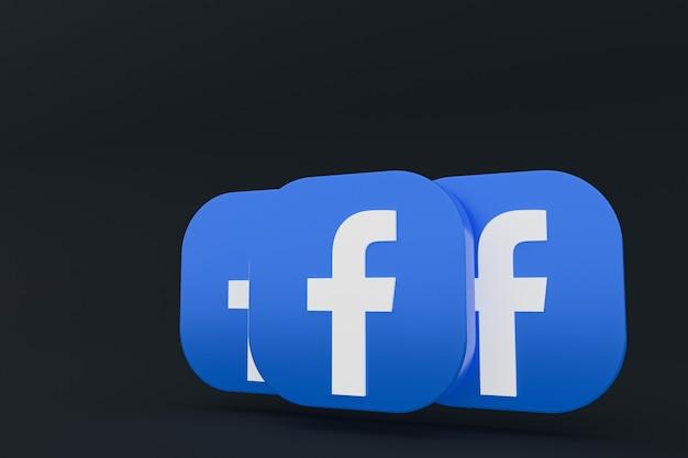 Rendu 3d du logo de l'application facebook sur fond noir