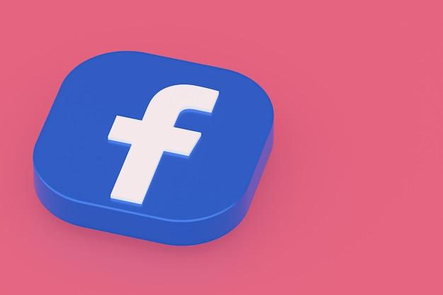 Rendu 3d du logo de l'application facebook sur fond rose