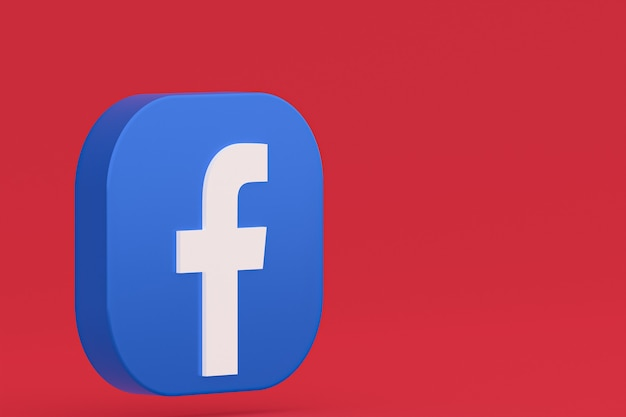 Rendu 3d du logo de l'application facebook sur fond rouge