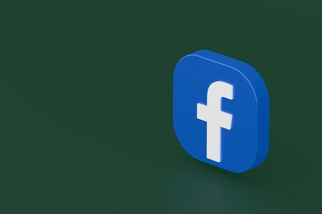 Rendu 3d du logo de l'application facebook sur fond vert