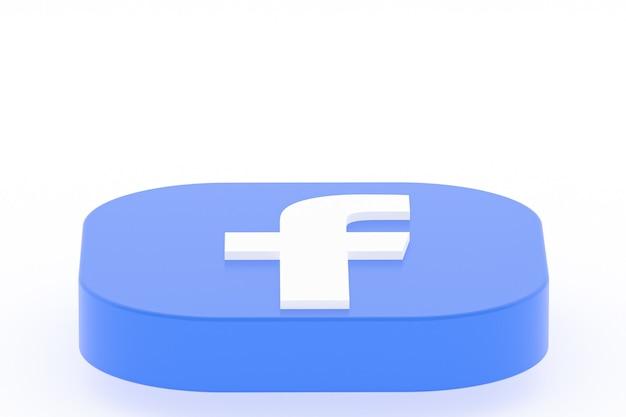 Rendu 3d du logo de l'application facebook sur une surface blanche