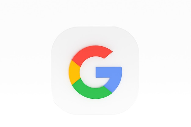 Rendu 3d du logo de l'application google sur fond blanc