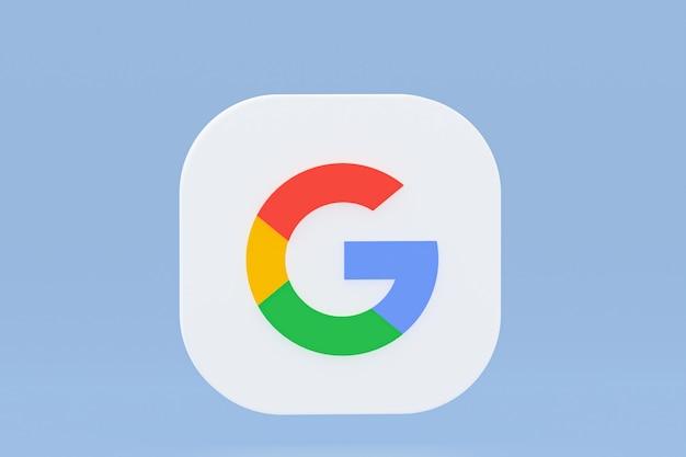 Rendu 3d du logo de l'application google sur fond bleu