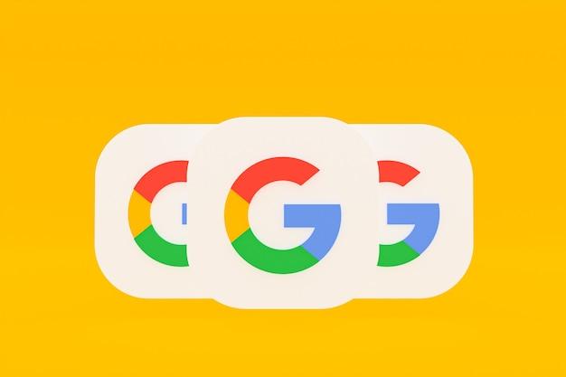 Rendu 3d du logo de l'application google sur fond jaune